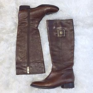 Tory Burch Julian Riding Boots Fig Brown Size 7